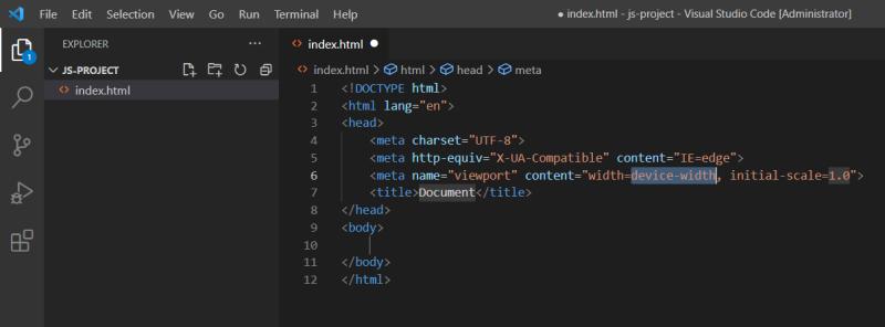 با درج علامت تعجب در ابتدای فایل HTML خالی، امکان ایجاد نمونه استاندارد فراهم است.