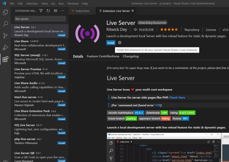 افزونه Live Server را نصب نمایید.