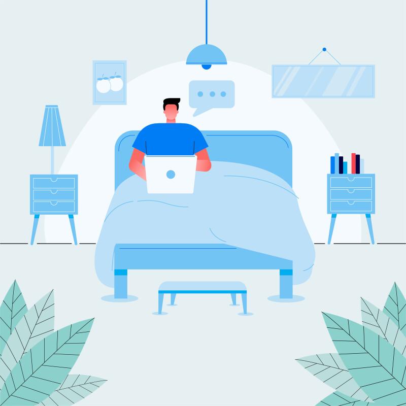 کار کردن در رختخواب به هیچ عنوان توصیه نمیشود زیرا ناخودآگاه انسان را برای استراحت آماده میکند؛ ولی اگر جزو آن دسته از افراد هستید که در هر جا و هر شرایطی به خواب میروید، حتی در این محل نیز، میتوانید کار کنید.