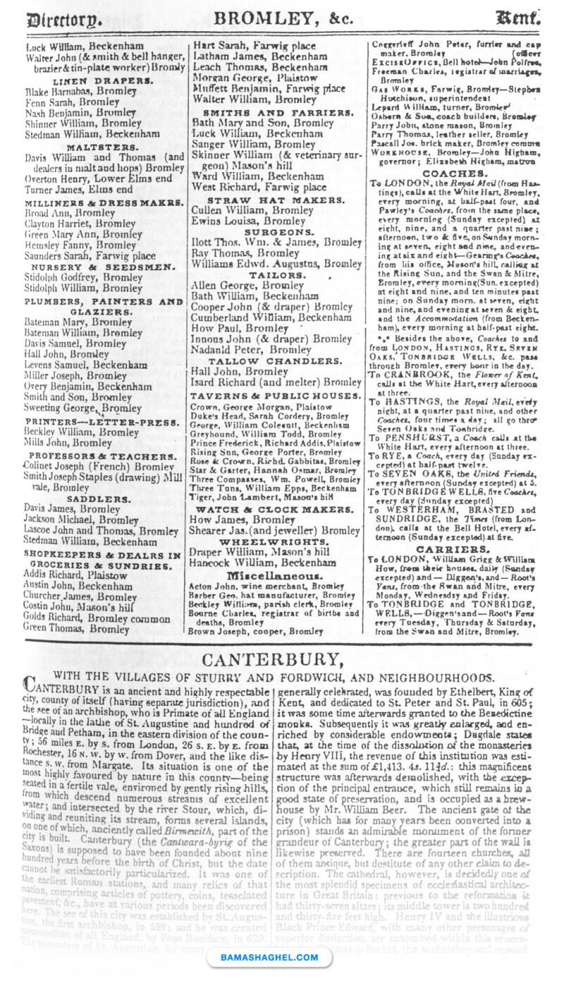 صفحه دایرکتوری مشاغل-۱۸۳۹ میلادی-انگلستان