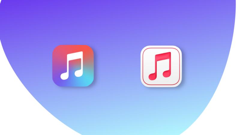 طراحی بهروز شده برای برنامه Apple Music for Artists (چپ: نماد قدیمی، راست: نماد جدید)
