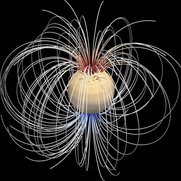 میدان مغناطیسی کیوان که در سطح آن دیده می شود.
