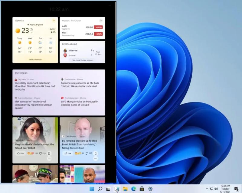 نسخه اولیه ابزارکهای (widget) ویندوز در ویندوز 11.