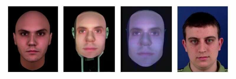 انواع مختلف بدنمندی ربات که در آزمایشات به کار گرفته شدهاند. از چپ به راست: عامل مجازی، ربات Furhat ، و ویدیوی ضبطشده از ربات Furhat. تصویر سمت راست نیز تصویر یک انسان واقعی است که برای عوان گروه کنترل در نظر گرفته شده.