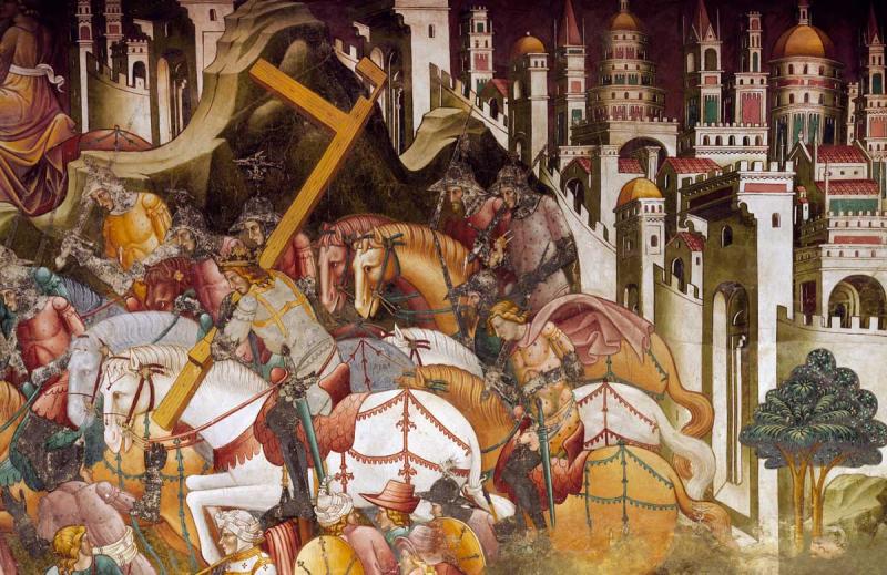 خسرو دوم صلیب واقعی را می دزدد ، نقاشی دیواری توسط Cenni di Francesco ، 1410 کلیسای سنت فرانسیس ، ولترا ، ایتالیا.