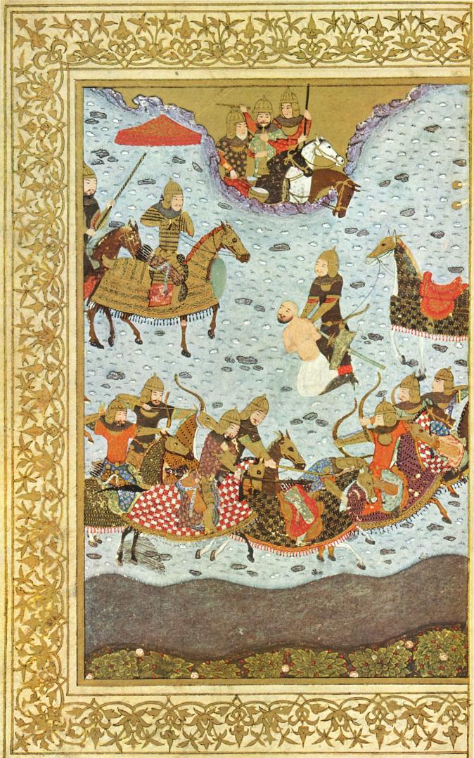 برگی از گلچین اسکندر سلطان، اسکندر داراب را زندانی میکند، حدود سده هشتم هجری، شیراز