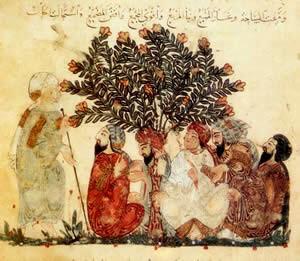 نگاره دو دینار از کتاب مقامات حریری - عربی - بغداد - ۱۲۳۷ میلادی