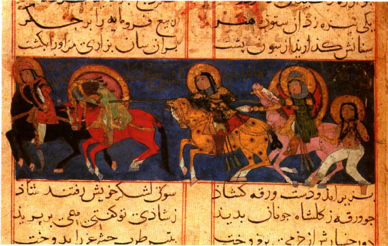 برگی از نگاره ورقه و گلشاه اثر عیوقی٬ سده ۶ هجری
