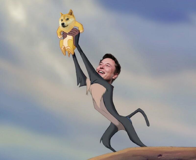 توییت ۴ فوریه ۲۰۲۱ ایلان ماسک با مضمون «خوش آمدی!» ساخته شده از فریمی از انیمیشن شیرشاه